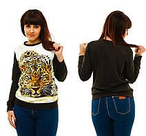 Женская толстовка с принтом Леопард 48-54 код 270 Б