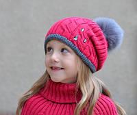 Зимняя шапочка на девочку  Капелька р52-57 (от 5 лет) (сезон: зима) розница 230  грн опт от 192 грн