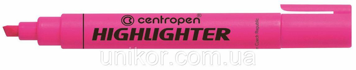 "Маркер текстовый 1-4.6 мм., корпус круглый, ""Highlighter"", розовый. CENTROPEN"
