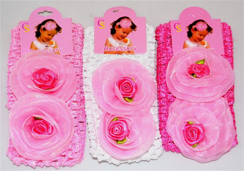 Дитячі мереживні повязочки на голову з трояндочками (12 шт)