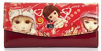 Оригинальный лаковый женский кожаный кошелек высокого качества WILDNESS art. 2447-C22 красный