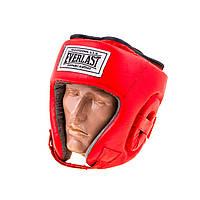 Шлем для бокса Everlast кожа, открытый красный EVSV480