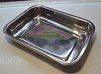 Противень нержавеющая сталь прямоугольный с ручками 28 см. Х 21,5 см. Х 6 см., фото 1