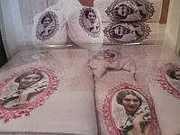 Набор бамбуковых полотенец+тапочки Irina Home (Турция) пудра
