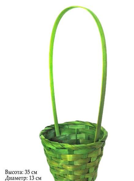 Корзина для цветов 35х13см зеленая