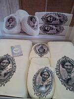 Набор бамбуковых полотенец+тапочки Irina Home (Турция) кремовый