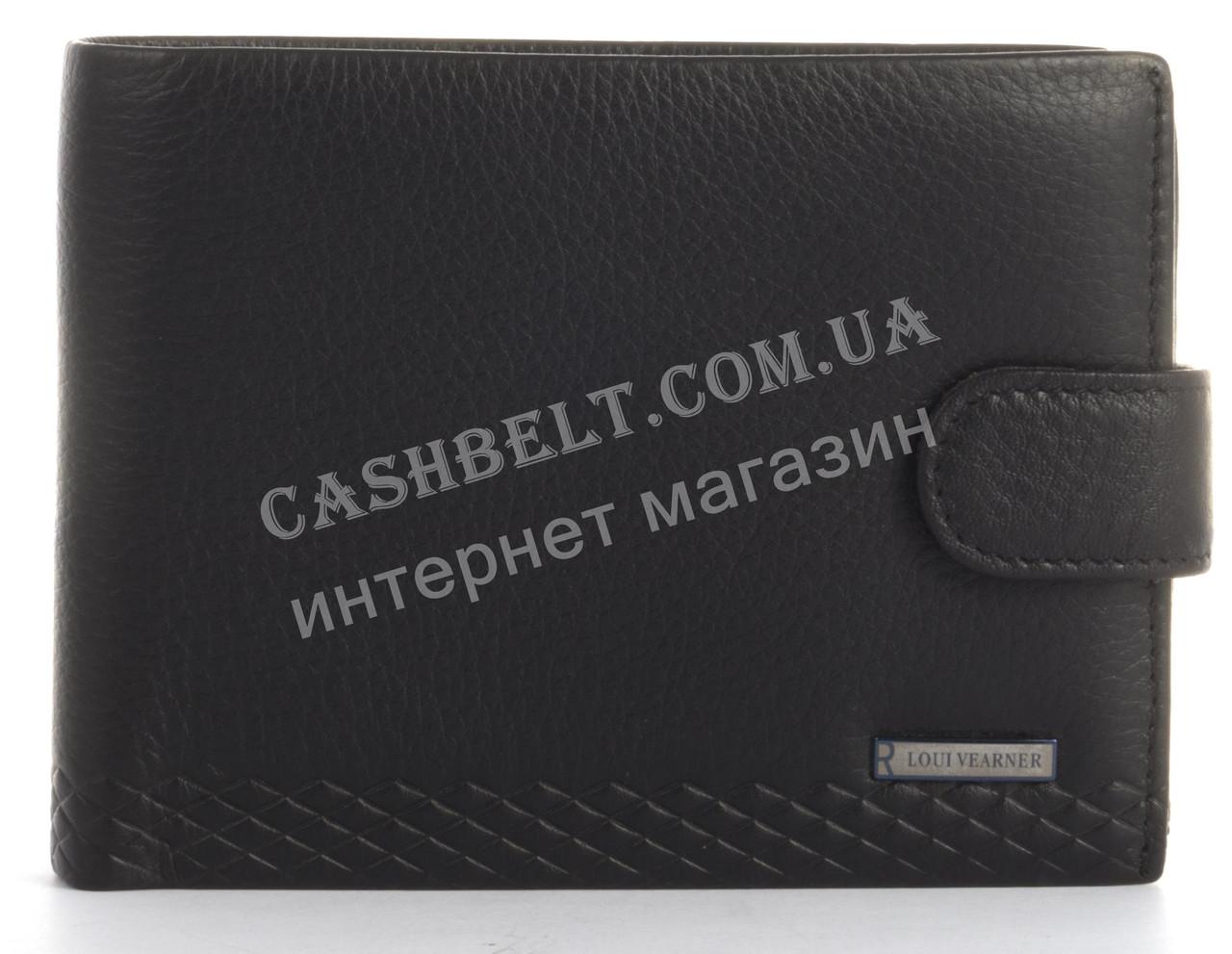 Прочный стильный бумажник портмоне из натуральной качественной кожи LOUI VEARNER art. LOU105-056A черный