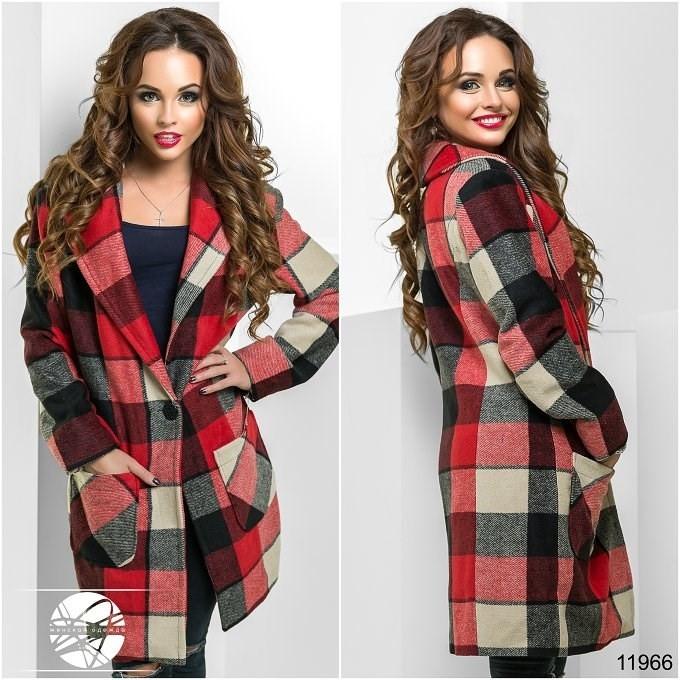 Осеннее модное пальто кашемировое в клетку