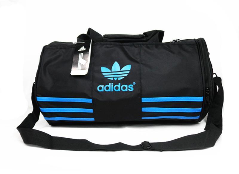 Спортивная сумка Adidas черная с голубым логотипом (реплика)