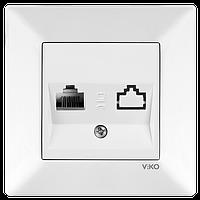 Розетка компьютерная (RJ45 CAT6) белая Meridian Vi-KO
