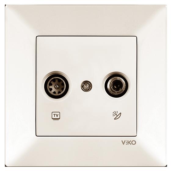 Розетка комплексная (телевизионная +радио концевая) кремовая Meridian Vi-KO