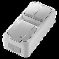 Блок влагозащищенный вертикальный выключатель двухклавишный + розетка с заземлением серый Palmiye Vi-KO