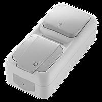 Блок влагозащищенный вертикальный выключатель проходной + розетка с заземлением серый Palmiye Vi-KO