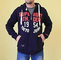Мужская толстовка Super Dry 456 темно-синий код 222в