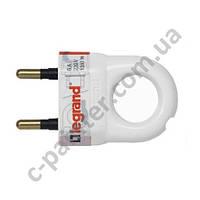 Вилка Электрическая Legrand 2К 6А Белый 50162