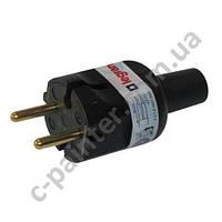 Вилка электрическая в резиновом корпусе Legrand 2К 6А Черная  50181