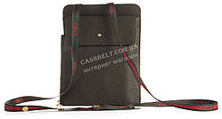 Кожаный кошелек с ремешком на шею высокого качества SHENGXIAO art. 1W0059-1 темно зеленый