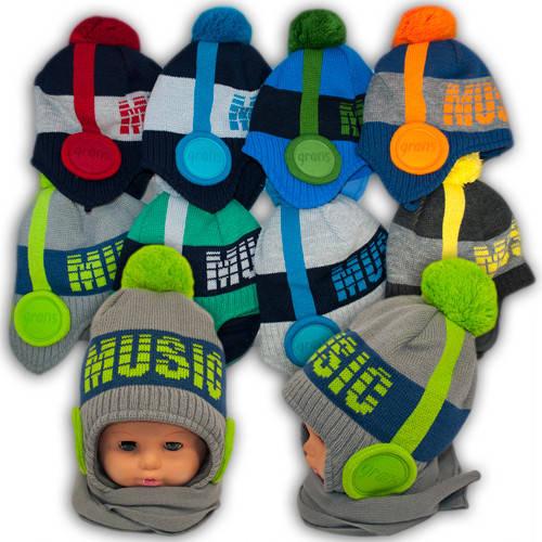 Детский комплект - шапка и шарф для мальчика AM93F, Grans (Польша), подкладка флис