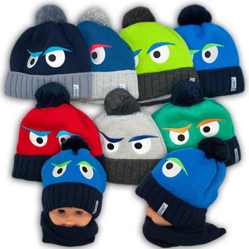 Детский комплект - шапка и шарф для мальчика, A768F, Grans (Польша), утеплитель флис