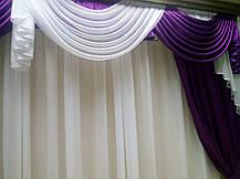 """Комплект штор """"Флоренция""""+лабрекен+тюль( Цвет фиолетовый), фото 3"""