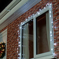 Нить 10м Белая (Холодный) Светодиодная, 100 LED, уличная гирлянда на белом каучуковом проводе