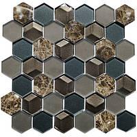 Мраморная мозаика со стеклом Vivacer SB04 коричневая