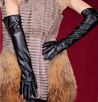 Зимние длинные перчатки черные S, PU кожа, выше локтя