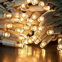 Уличная Гирлянда светодиодная нить, 20 м, 200 led белый каучуковый провод - цвет тепло белый
