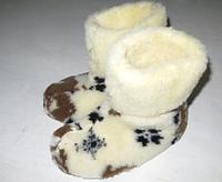 Теплые шерстяные комнатные чуни из овчины