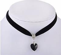 Ремешок черный бархатный чокер с сердечком кристалл