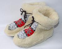 Женские теплые комнатные чуни из овчины серые и красные вставки