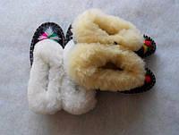 Теплые детские тапочки из овечьей шерсти коричневые