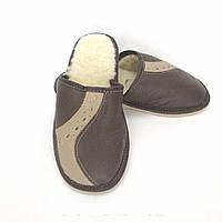 Тапочки мужские из овечьей шерсти темно-коричневые