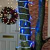 Вулична світлодіодна Гірлянда нитка, 10 м, 100 led білий каучуковий провід - мерехтливий колір синій