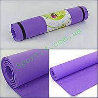 Коврик для фитнеса, каремат EVA однослойный 4мм YG-054 (р-р 1,73мх0,61мх4мм, фиолетовый)