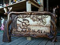 """Резная картина из дерева """"Охотник"""""""