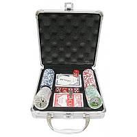 Покерный набор на 100 фишек с номиналом в металлическом кейсе N°100N