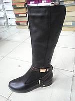 Зимние женские черные сапоги из натуральной кожи.