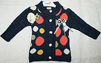 Кофта вязанная на пуговицах для девочки 1-2-3-4 года Горохи