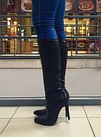 Сапоги демисезон в стиле Louboutin чёрная эко-кожа