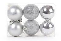 Набор елочных шаров серебро, 6 см, 6 шт