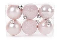 Набор елочных шаров розовый, 6см, 6 шт