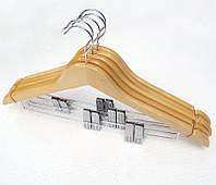 Вешалка (плечики) деревянная с прищепками светлая, 44 см, в упаковке 5 шт, фото 1
