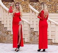 """Элегантное вечернее длинное платье с открытой спиной """"Гипюр Стразы"""" в расцветках, фото 1"""