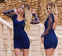 """Стильное женское коктейльное платье с открытой спиной """"Гипюр Стразы"""" в расцветках, фото 1"""