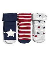 Детские махровые носочки для мальчика (3 пары). 0-3, 6-12 месяцев