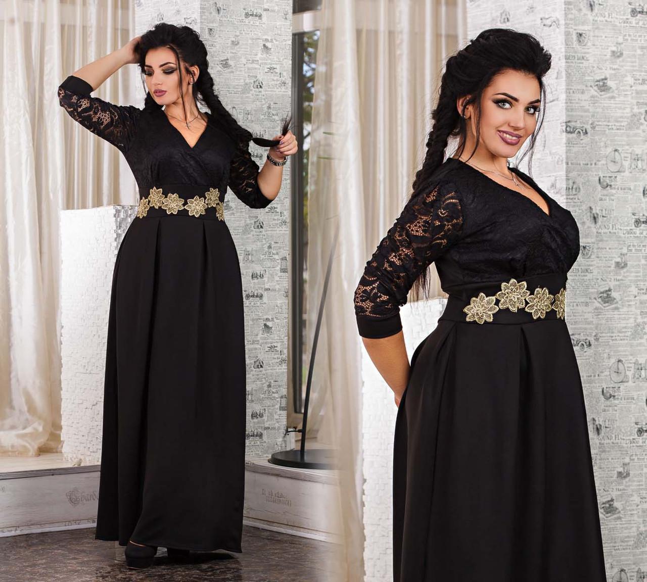 """Элегантное вечернее длинное платье в больших размерах 1093 """"Золотые Цветы Вышивка"""" в расцветках"""