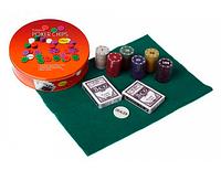 Покерный набор на 120 фишек в круглой металлической коробке Poker Chips  120т SO