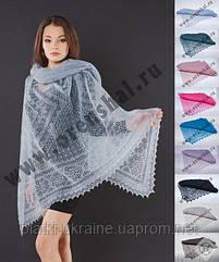 Оренбургский пуховый платок паутинка 150х150 см. Цвет: белый, черный.