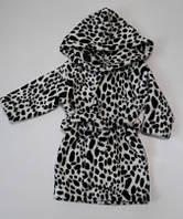 """Махровый банный халат """"Леопард"""", с капюшоном, рост от 80 до 128 см"""